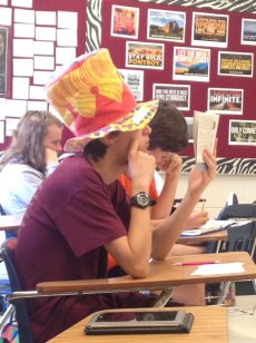 Doesn't everyone read with a giant hat on?