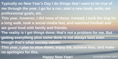 Typically on Jan 1st I do things that I want to be true of me through the year. I go for a run, start a new book, write, set professional goals, etc. This year, however, I did none of these. Instead, I took the dog f (1)